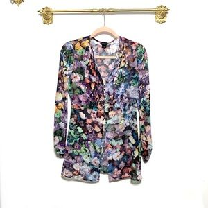 Marciano Open Front Blouse Top Floral Semi Sheer